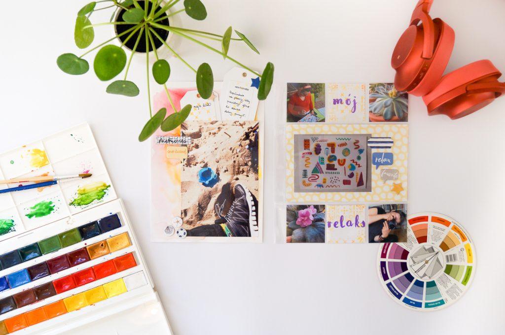 layout i wywołane odbitki zdjęć, pilea, farby akwarelowe, słuchawki bezprzewodowe