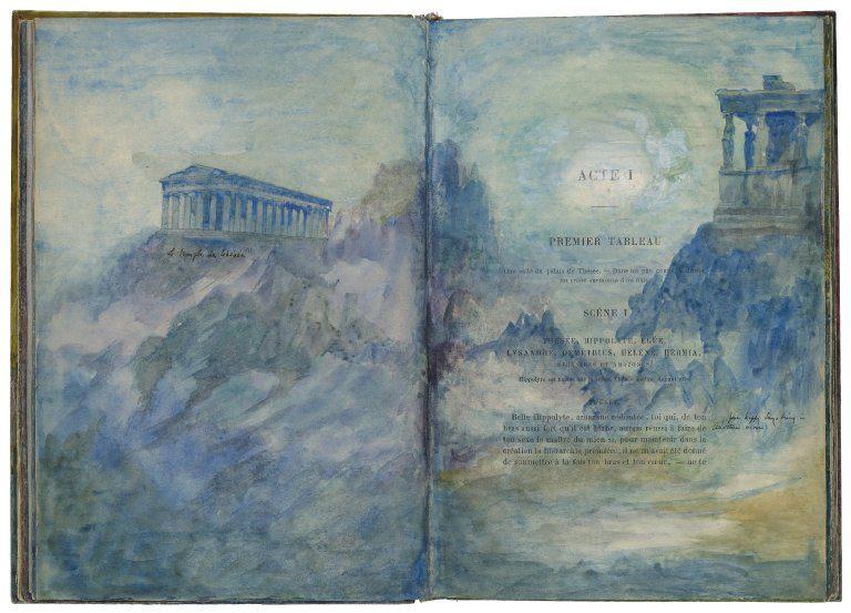 Ilustracje w egzemplarzu sztuki Sen nocy letniej - scrapbooking